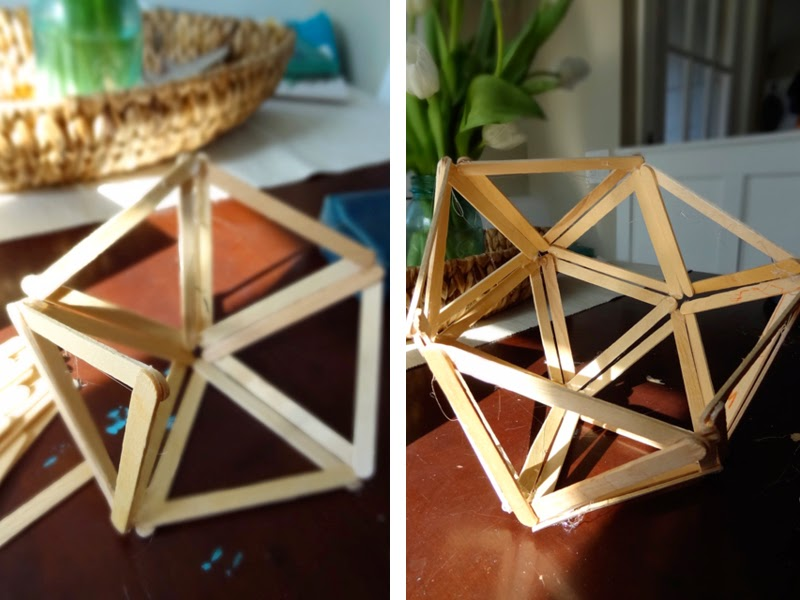 DIY Craft Stick Geometric Pendant Light