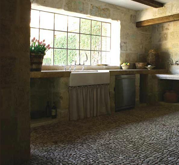 Kitchen, View 2 - Stone Walls, floors, antiques from Chateau Domingue, Design by Pamela Pierce for Ruth Gay, owner of Chateau Domingue, as seen on linenandlavender