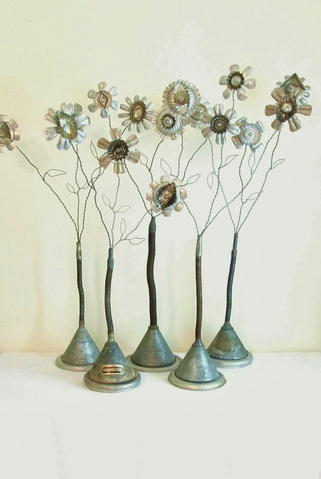 Metal collage flower art