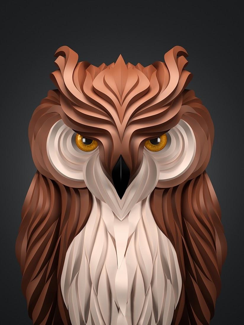 08-Owl-Maxim-Shkret-Digital-Origami-Animal-Art-www-designstack-co