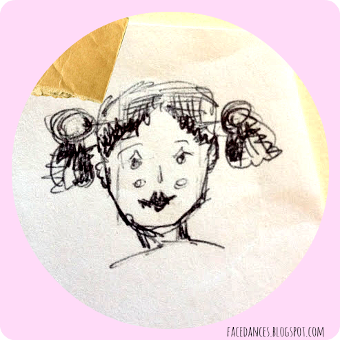 pig tails doodle ball point via facedances.blogspot.com