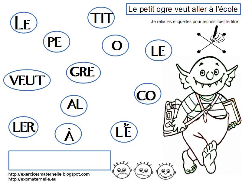 Maternelle: Le petit ogre veut aller à l'école, reconstitution du