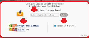 Twitter Follow Button,Facebook Popup and Email Subscription Form For Blogger