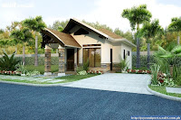 Diseño de casa en 3d bonita de una planta con pequeño porche techado