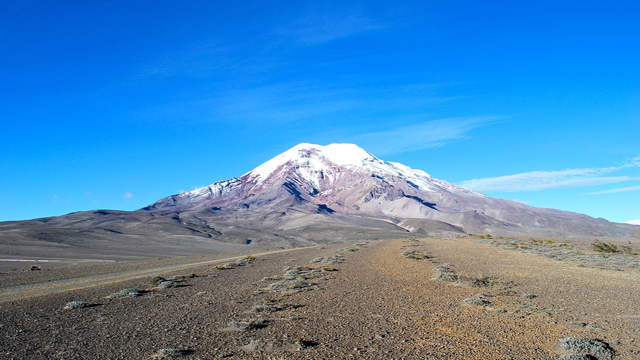 Chimborazo, EcuadorAlthough the peak of Mount Everest is the highest point above sea level, because Earth bulges at its equator due to its rotation, the summit of Chimborazo in Ecuador is actually the point on Earth farthest from it's center.