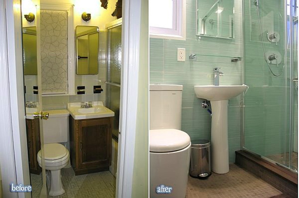 Amazing before and after bathroom renovations for Small bathroom remodel plans
