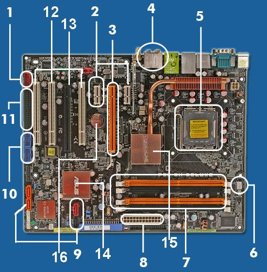 Berikut adalahgambar motherboard dengan komponen komponennya: