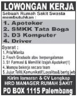 Loker Rumah Sakit Swasta Palembang