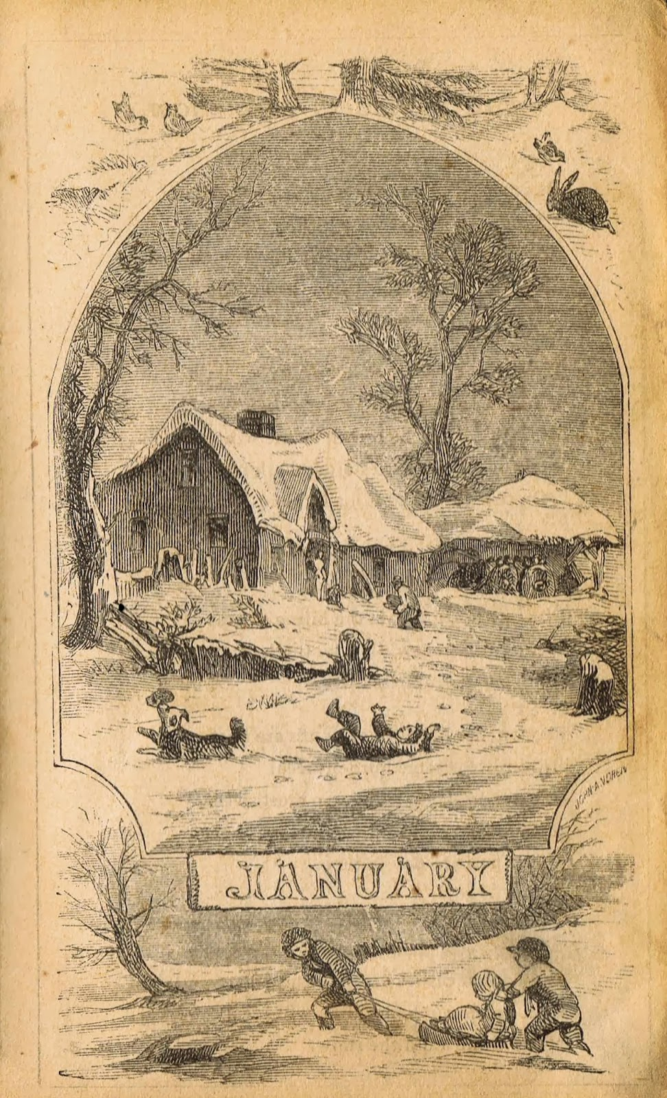 Antique Winter Calender Months Winter Sledding Illustrations from 1800's Lady's Almanac via Knick of Time