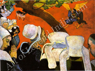 "The Great Artist Paul Gauguin Painting  ""Vision after the Sermon"" 1888 28 3/4 x 36 1/4 Nationl Gallery of Scotland, Edinburgh"