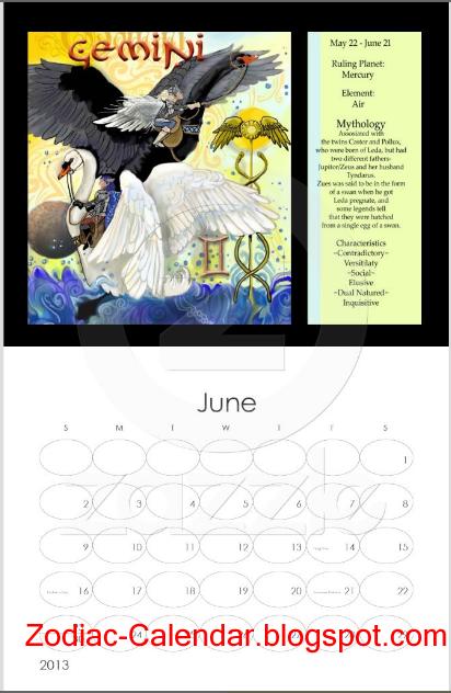 Zodiac Calendar June : Zodiac calendar