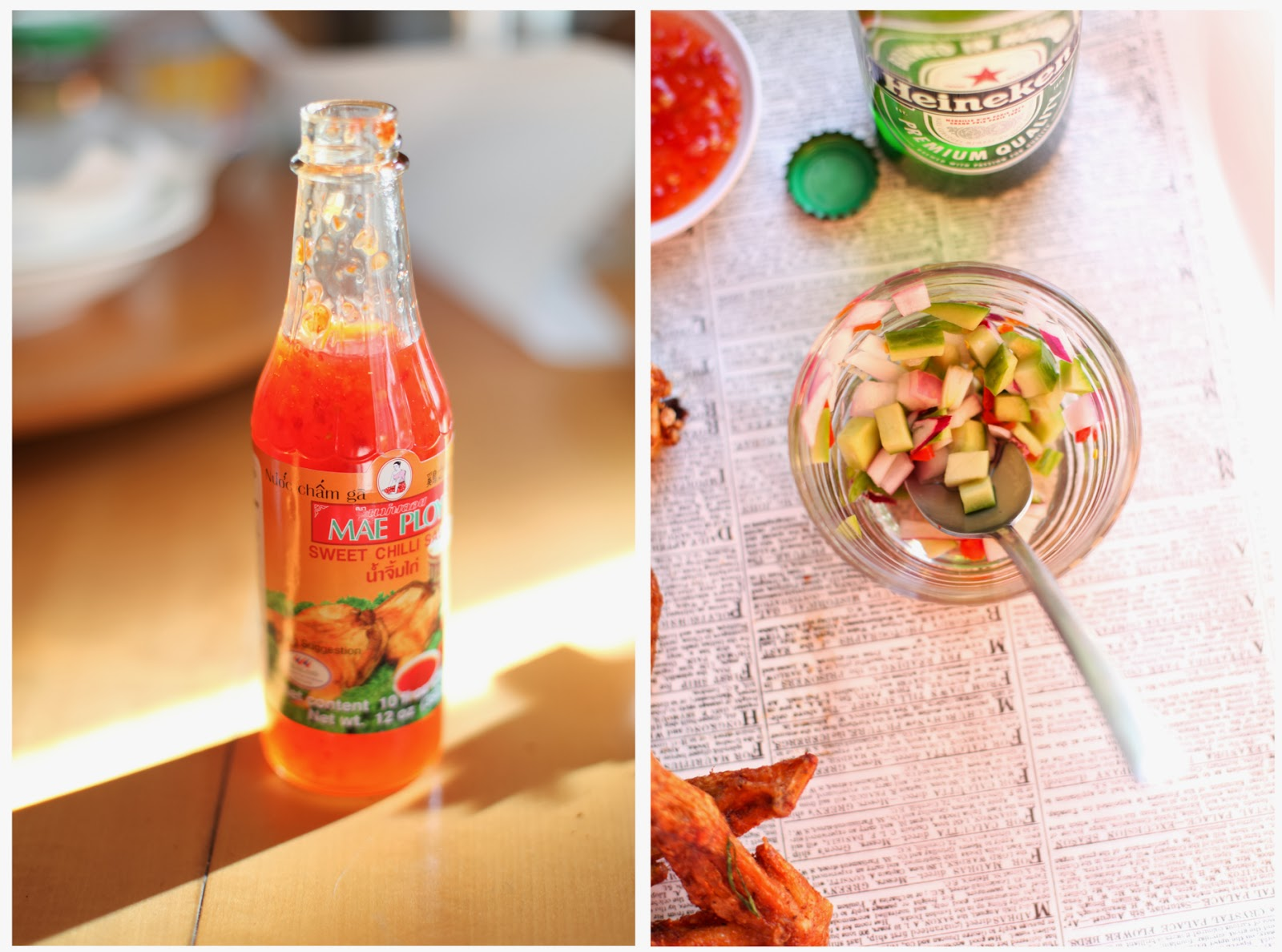 Mae Ploy Sweet Chili Dipping Sauce and Homemade PIckled Thai Cucumber Relish | via Chandara Creative