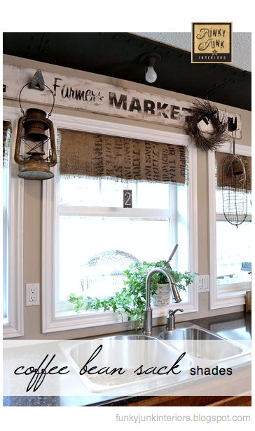 Coffee bean sack window treatments via Funky Junk Interiors