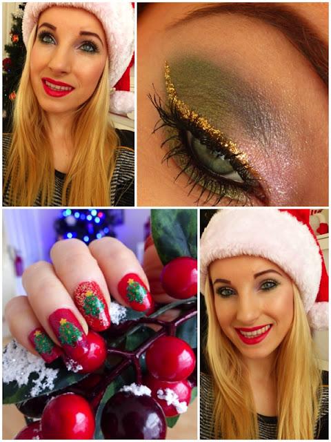 Christmas Make-up - Pierre Rene, Lancome + xmas nails
