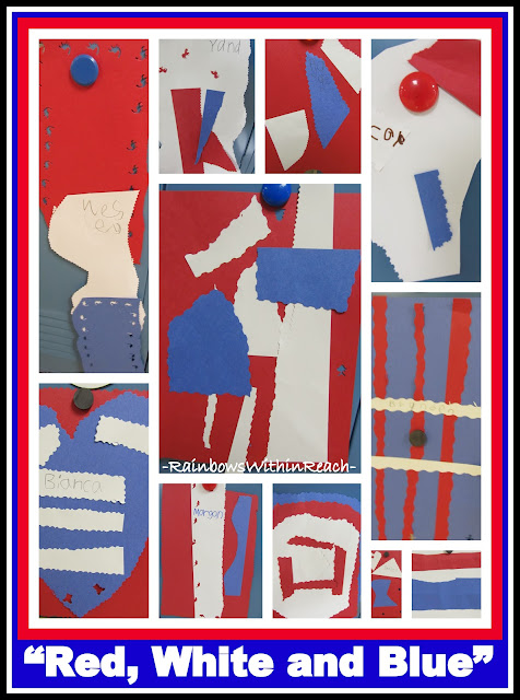 photo of: First Grade Construction Paper Quilts in Response to Patriotic Picture Book