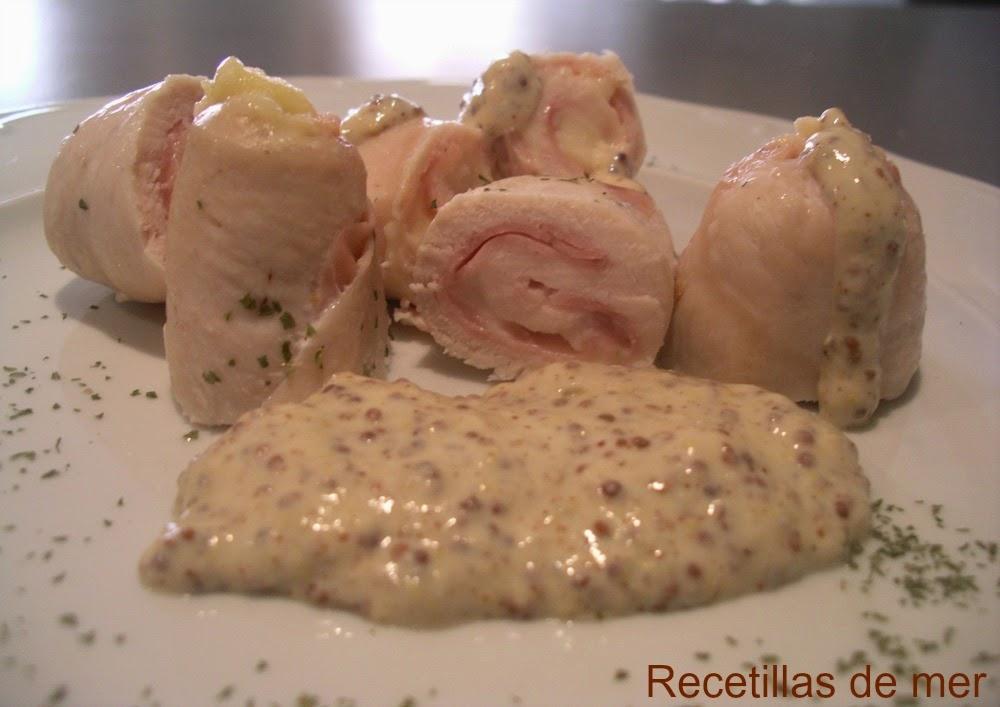 Recetillas de mer: rollitos de pollo con salsa de mostaza