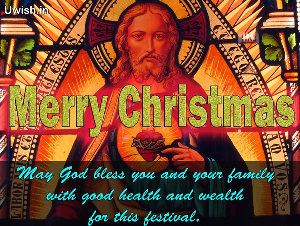 Merry Christmas wishes and greetings with Jesus Christ Picture.
