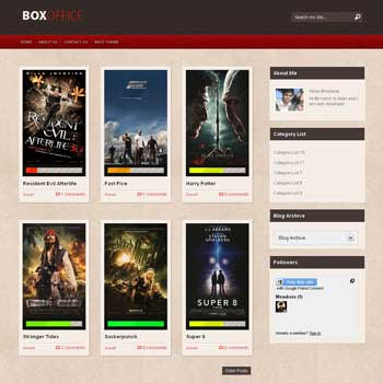 Box Office blogger template. movie template blogger blog