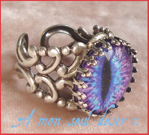bague oeil yeux chat dragon pupille fendue bijou gothique gothic gothik goth cat's eye ring jewel