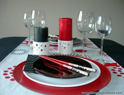 decoracion mesa estilo oriental con velas