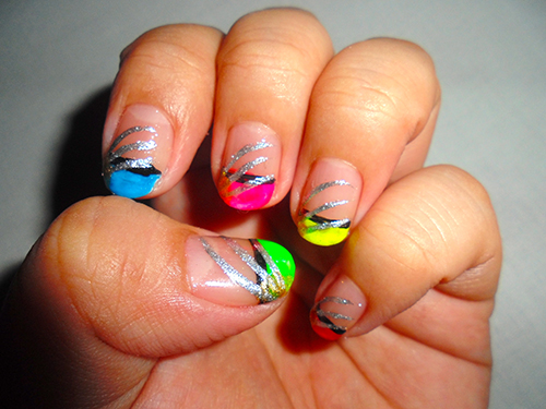 It\'s All About Nail Arts: Neon Colors French Tip Nail Art