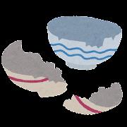 割れた食器のイラスト(ゴミ)