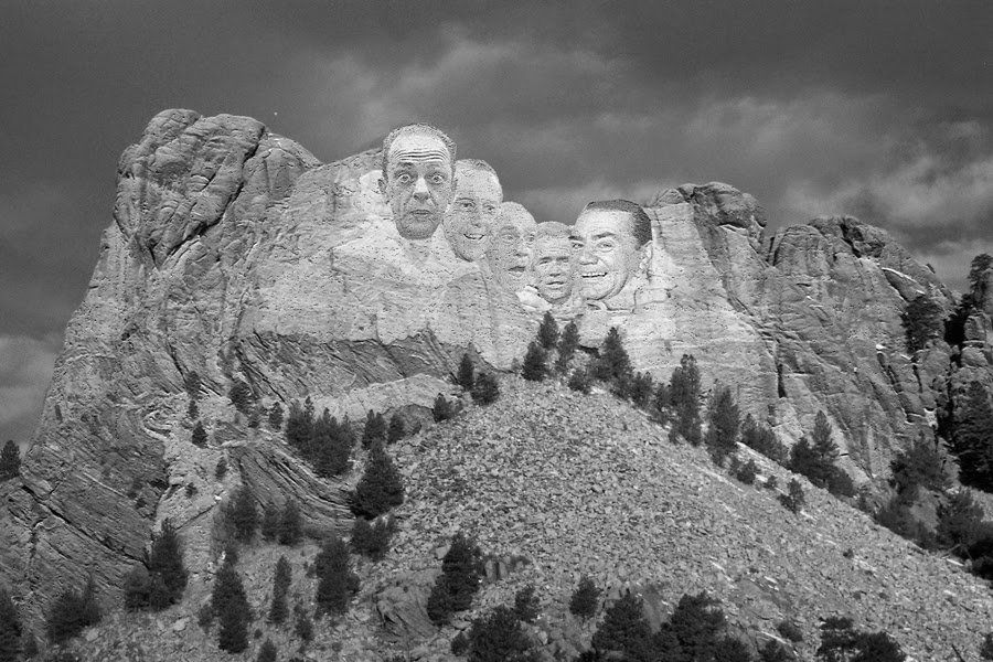 Mount Rudymore: the Rudy Schwartz Project pantheon - Don Knotts, Olan Soulé, Abe Vigoda, Bob Eubanks and Ernest Borgnine