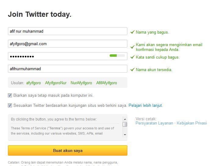Cara membuat account baru twitter