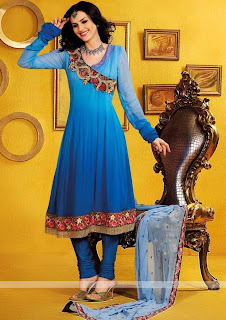 Blue Anarkali Salwar kameez Neck Design