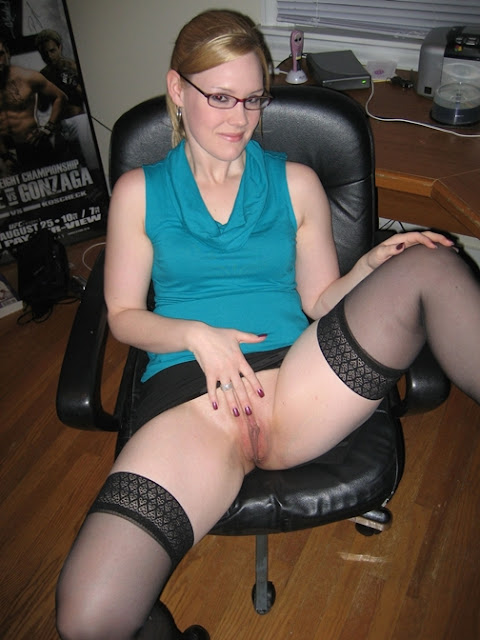 glasses,shaved pussy,stockings