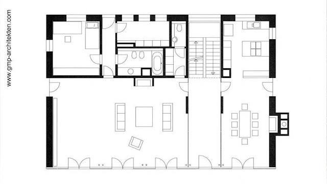 Plano de arquitectura de la planta baja de la residencia