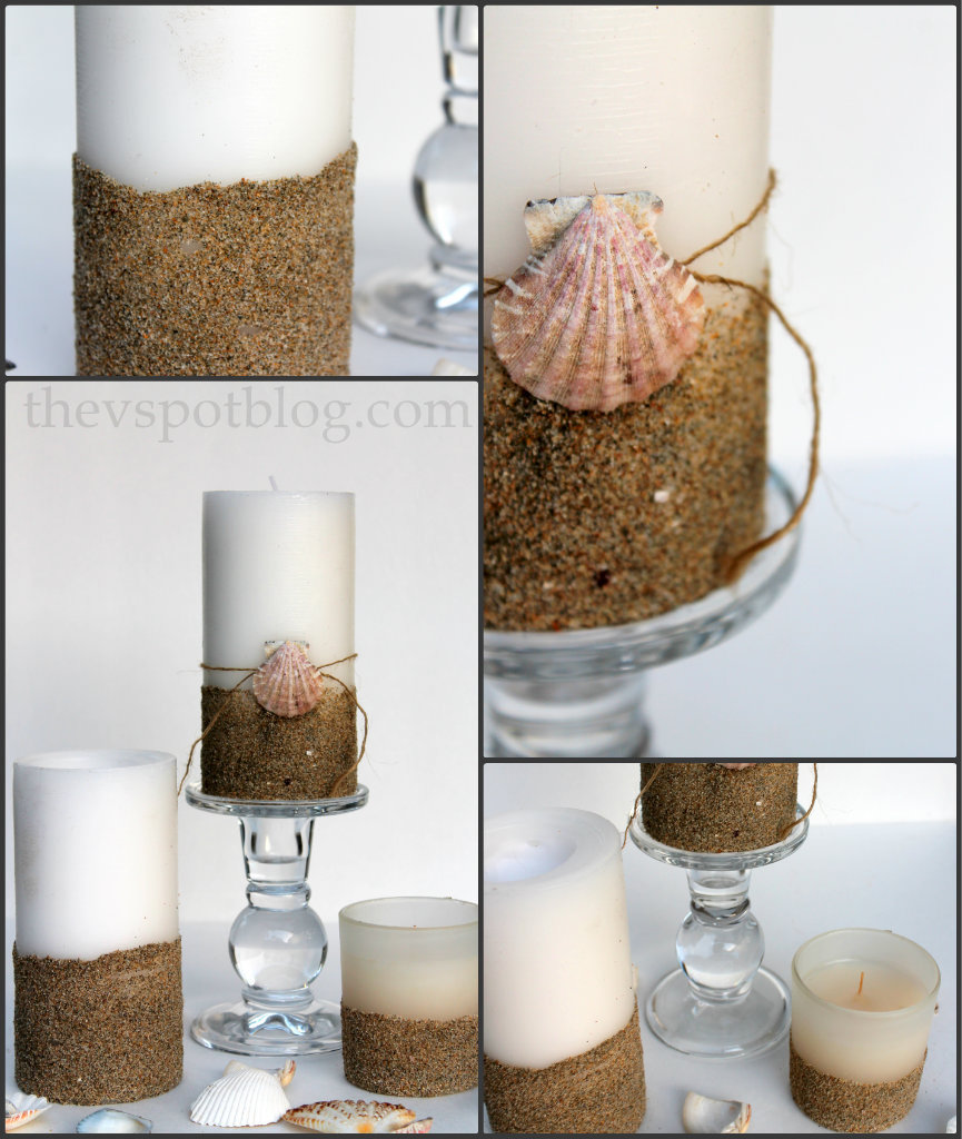 give plain pillar candles a beachy look with sand and