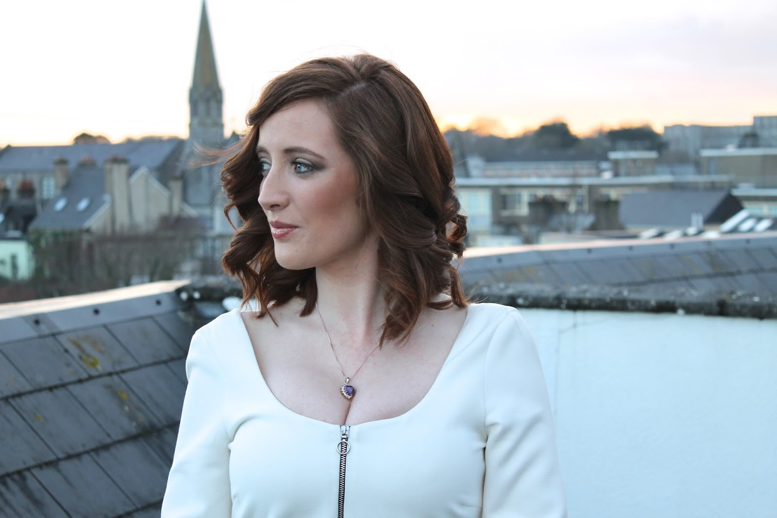 Profile of Bec Boop in Galway city wearing white dress