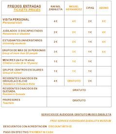 PRECIOS DE ENTRADAS / TICKETS PRICES / Servicio de audioguía gratuito (Museo Zabaleta)