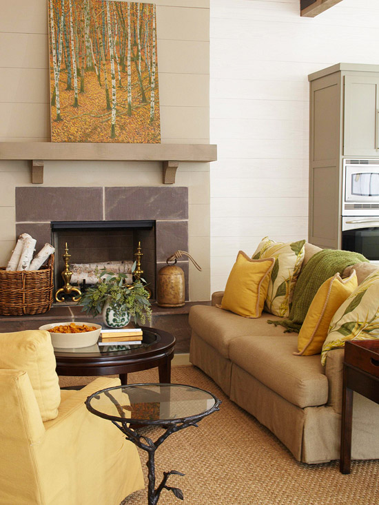 Green Fireplace Yellow Walls Living Room