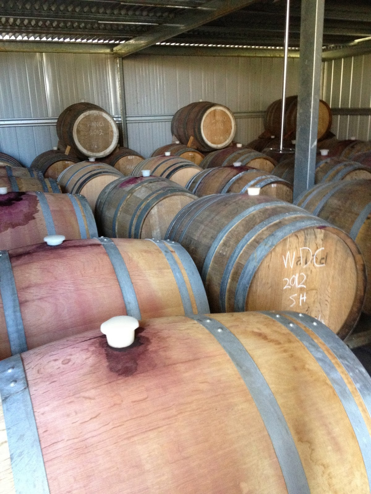 condie estate winery red wine barrels