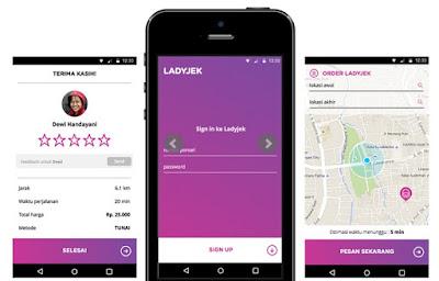 aplikasi ladyjek, ojek ladyjek, ojek online, wanita oleh wanita