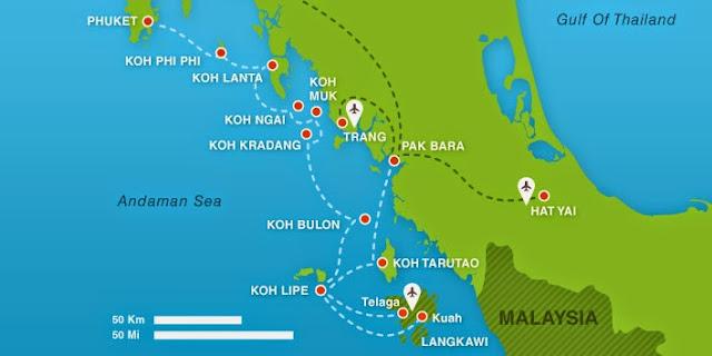 Comment aller de Koh Lipe à Koh Phi Phi, Koh lanta ou Krabi - carte des îles