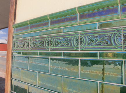 antique ceramic green tile
