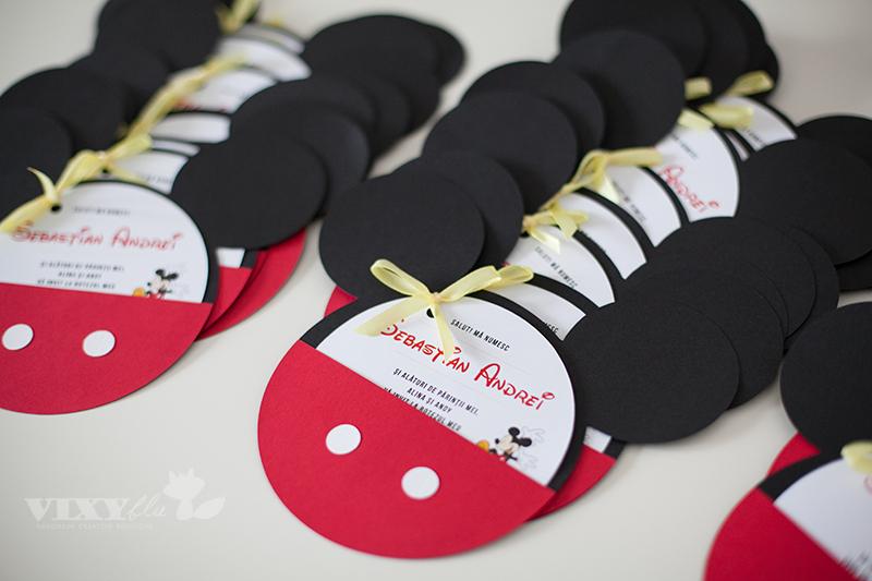 invitatii handmade Mickey, Mickey Mouse, pachet petrecere copii Mickey