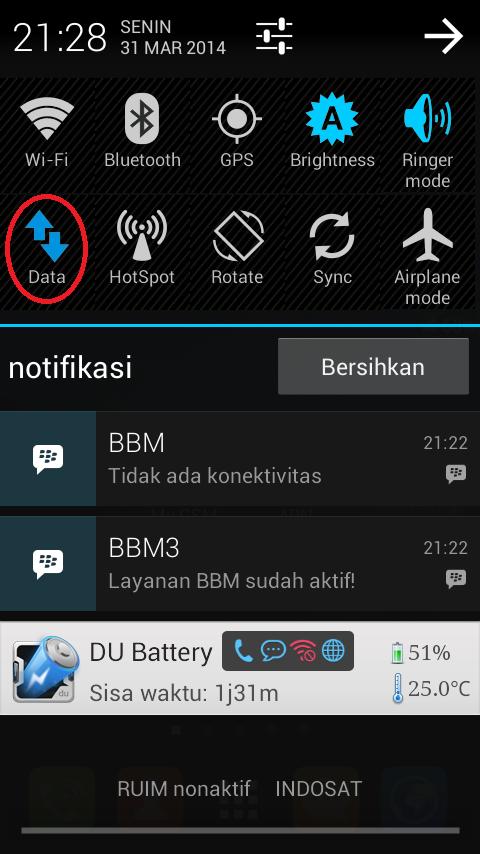 Koneksi DATA Andromax