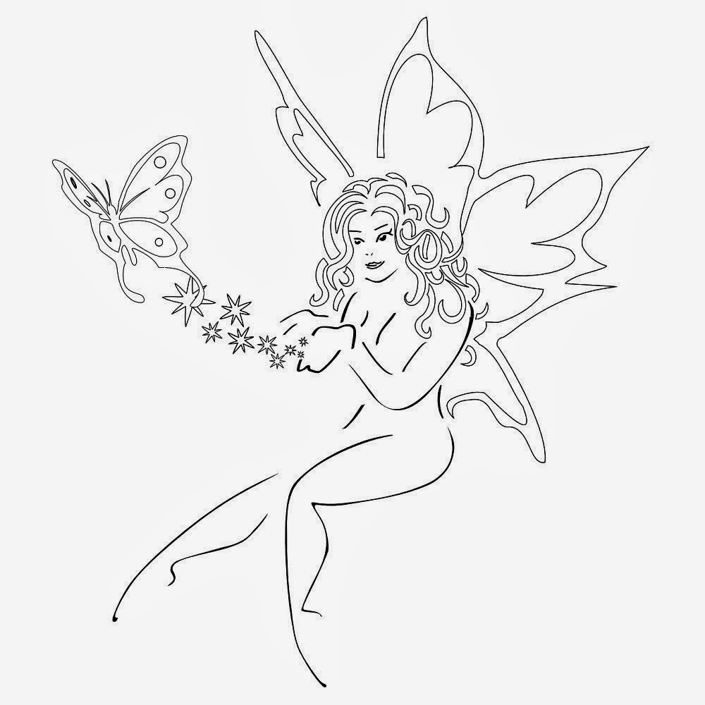 Fairy with butterfly tattoo stencil