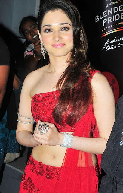 tamanna hot photos in red dress on ramp