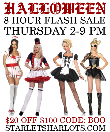 price cuts up to 50 off plus get an extra 20 off 100 with code boo at checkout deadly dolls and darling dames this halloween costume sale only lasts for