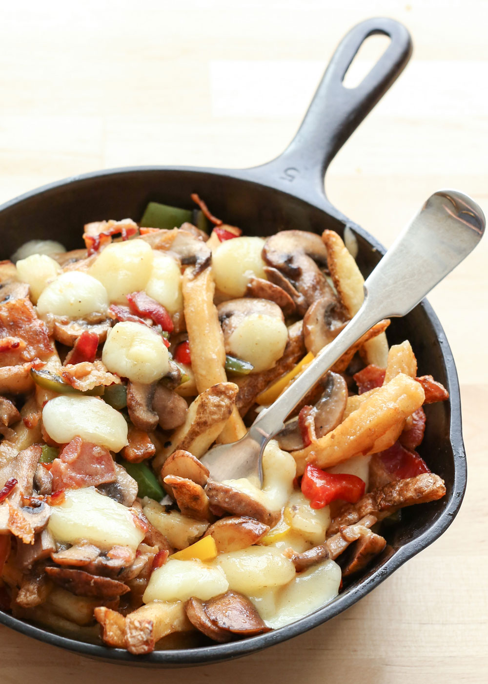 Montreal Poutine with Bacon, Peppers, Mushrooms, and Onions by Barefeet In The Kitchen {our version of The Matty by laBanquise}