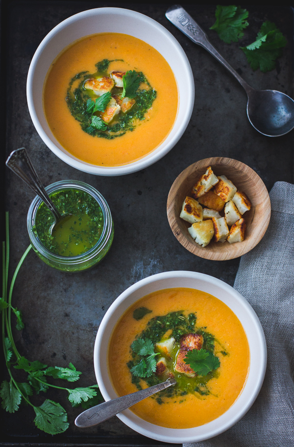 ... Roasted Yellow Tomato Soup with Green Harissa + Halloumi Croutons, and