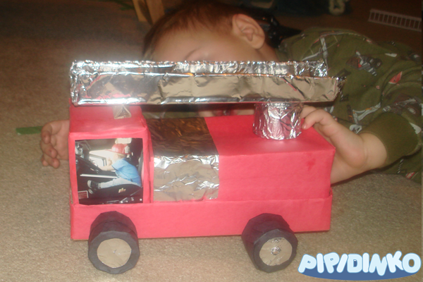 how to make a fire truck out of a box 1
