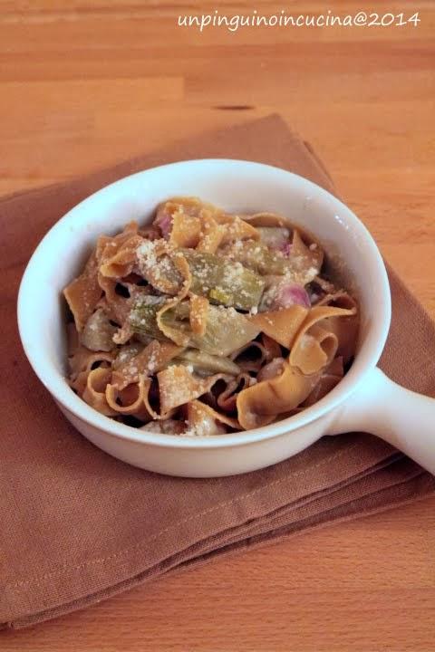 tagliatelle alla farina di castagne con carciofi, pancetta e pecorino