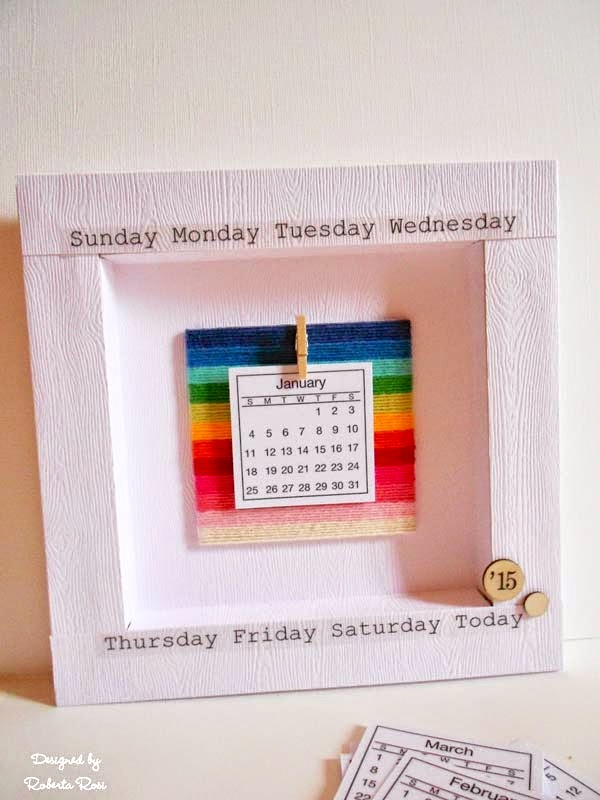 SRM Stickers Blog - Framed Mini Calendar by Roberta - #calendar #mini #stickers #twine #2015