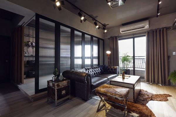 apartamento de estilo industrial loft decoración masculina idea para separar ambientes